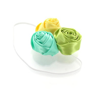 My Lello Satin Rose Flower Cluster on Skinny Headband - aqua/leaf green/lemon