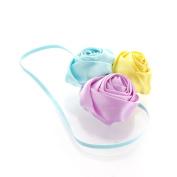 My Lello Satin Rose Flower Cluster on Skinny Headband - pale blue/lemon/lavender