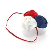 My Lello Satin Rose Flower Cluster on Skinny Headband - red/navy/white