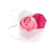 My Lello Satin Rose Flower Cluster on Skinny Headband - white/bubblegum/shocking pink