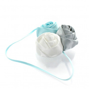 My Lello Satin Rose Flower Cluster on Skinny Headband - pale blue/grey/white