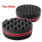 Zodaca Double Side Two in One Magic Twist Hair Sponge Brush Afro Braid Style Dreads Locking Coils Wave Hair Curl Brush, Black