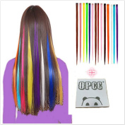 OPCC Bundle 12 Pieces of 60cm Multi-Colours Party Highlights Colourful Clip In Synthetic Hair Extensions,1PCS Opcc Sticky Notes included