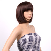 AGPtEK® 33cm High-Quality Bob Style Wig Disco Party Short Straight Bang Hair Heat Resistant Full Wig-Dark brown
