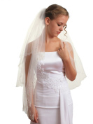 2T 2 Tier Silver Lined Beaded Edge Fingertip Length Bridal Wedding Ivory Veil VB9B3