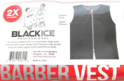 Black Ice Barber Vest Size Black 2X-Large, Professional, barber cape, barber, salon, polyester, fabric, polyester fabric, high quality, fish net, convenient, haircut, hair cutting, hair salon, stylist, hair stylist , hair styling cape