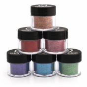 Cosmetic Grade 6 Pk Glitter Powder Kit - A Beautiful Mix of Ultra Fine & Fine Glitter Powder Safe for Skin! Great for Body Tattoos, Makeup, Face, Hair, Lips, Soap, Lotion, & Nail Art