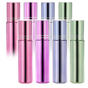 Pack of 8--Roller on Glass Bottles - 10ml Glass Containers for Essential Oil, Empty Aromatherapy Essential Oils,Perfume Bottles - Refillable Slim with Metal Ball by Mavogel