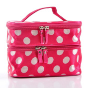 JOVANA Unique Dots Pattern Double Layer Cosmetic Bag Rose Red
