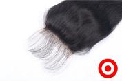 Amazing 7A Bleached Knots Lace Closure 8.9cm *10cm Peruvian Virgin Human Hair Natural Straight Natural Colour