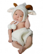 XMYM Newborn Handmade Lamb Crochet Knitted Unisex Baby Cap Outfit Photo Props