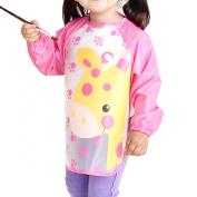SOKDO Children Kids Waterproof Long-sleeved Smock Apron Bib for Eating and Painting Pink Giraff
