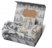 Milkbarn Organic Newborn Gown, Hat and Swaddle Blanket Keepsake Set, Blue Elephant