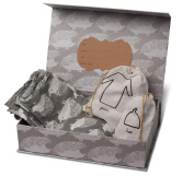 Milkbarn Organic Newborn Gown, Hat and Swaddle Blanket Keepsake Set, Grey Hedgehog