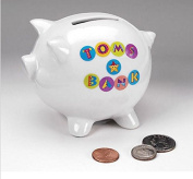 NEW WHITE PIGGY Bank Coin Safe Box