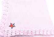 Knitted Hand Crochet Finished Pink Cotton Baby Blanket with Star American Flag