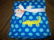 Blue Polka Dot Embroidered Alligator and Bird 30 x 30 FLuffy Soft Baby Blanket