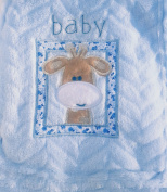 Snugly Baby Embroidered Giraffe Ultra Soft Blanket ~ Blue