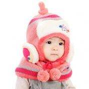 Malloom Adorable Toddler Baby Winter Fleece Wool Hat with Scarf Earflap Knit Bomber Cap