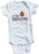 Baby Tee Time Boys' My first Thanksgiving funny One piece