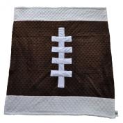 Cosy Wozy Football Themed Minky Baby Blanket, Brown/White, 80cm x 90cm