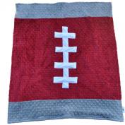 Cosy Wozy Football Themed Minky Baby Blanket, Crimson Red/Grey, 80cm x 90cm