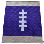 Cosy Wozy Football Themed Minky Baby Blanket, Purple/Tan, 80cm x 90cm
