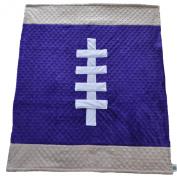 Cosy Wozy Football Themed Minky Baby Blanket, Purple/Tan, 80cm x 90cm