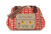 Pink Lining Blooming Gorgeous Zipper Bag, Cream Bows On Red