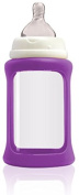 Cherub Baby Wide Neck Glass Baby Bottle * NatriBaby Bottle with Colour Changing Technology & Shock Absorbing Silicone Sleeve * Lightweight * BPA Free * Safe - 240ml Purple