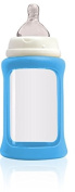 Cherub Baby Wide Neck Glass Baby Bottle * NatriBaby Bottle with Colour Changing Technology & Shock Absorbing Silicone Sleeve * Lightweight * BPA Free * Safe - 240ml Light Blue