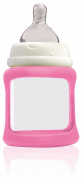 Cherub Baby Wide Neck Glass Baby Bottle * NatriBaby Bottle with Colour Changing Technology & Shock Absorbing Silicone Sleeve * Lightweight * BPA Free * Safe - 150ml Light Pink