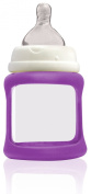 Cherub Baby Wide Neck Glass Baby Bottle * NatriBaby Bottle with Colour Changing Technology & Shock Absorbing Silicone Sleeve * Lightweight * BPA Free * Safe - 150ml Purple