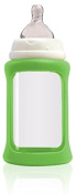 Cherub Baby Wide Neck Glass Baby Bottle * NatriBaby Bottle with Colour Changing Technology & Shock Absorbing Silicone Sleeve * Lightweight * BPA Free * Safe - 240ml Light Green