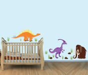 Large Dinosaur Wall Decals, Stegosaurus, Colourful Fabric Wall Stickers for Baby Room