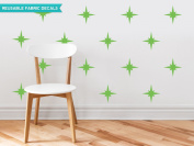 Sunny Decals Retro Stars Fabric Wall Decals (Set of 22), Green