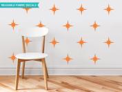 Sunny Decals Retro Stars Fabric Wall Decals (Set of 22), Orange