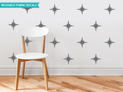 Sunny Decals Retro Stars Fabric Wall Decals (Set of 22), Charcoal Grey