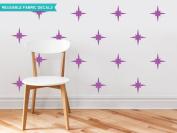 Sunny Decals Retro Stars Fabric Wall Decals (Set of 22), Purple