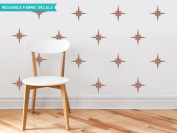 Sunny Decals Retro Stars Fabric Wall Decals (Set of 22), Brown