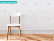 Sunny Decals Retro Stars Fabric Wall Decals (Set of 22), Light Purple