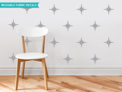Sunny Decals Retro Stars Fabric Wall Decals (Set of 22), Grey