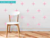 Sunny Decals Retro Stars Fabric Wall Decals (Set of 22), Pink
