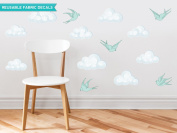 Sunny Decals Modern Clouds Fabric Wall Decals with Birds (Set of 9), Green