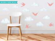 Sunny Decals Modern Clouds Fabric Wall Decals with Birds (Set of 9), Pink