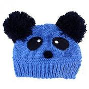 Dealzip Inc® Cute Unisex Children Kids Toddler Panda Pattern Blue Wool Knit Woven Winter Beanie Hat Cap