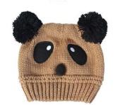 Dealzip Inc® Cute Unisex Children Kids Toddler Panda Pattern Beige Wool Knit Woven Winter Beanie Hat Cap