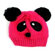 Dealzip Inc® Cute Unisex Children Kids Toddler Panda Pattern Hot Pink Wool Knit Woven Winter Beanie Hat Cap