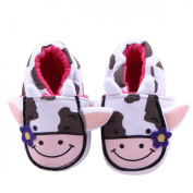 Aivtalk Kids Toddler Baby Knitted Cartoon Shoes Purple Flower Cow Printed Soft Crib Shoes Size 12 - White