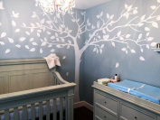PopDecors - Super Big Tree White-340cm W - Beautiful Tree Wall Decals for Kids Rooms Teen Girls Boys Wallpaper Murals Sticker Wall Stickers Nursery Decor Nursery Decals PT-0129-WHT